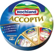 Сыр плавленый 'Hochland' (Хохланд) Ассорти (4-сливочных, 2-ветчина, 2-грибы) 55% 140г порционный