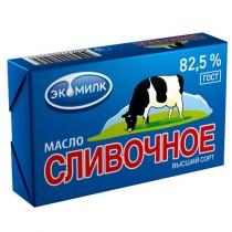 Масло сладко-сливочное 'Экомилк' сливочное 82,5% 180г фольга