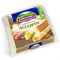 Сыр плавленый 'Hochland' (Хохланд) Ассорти 4-ломтика ветчина 4-ломтика сливочный 48% 150г