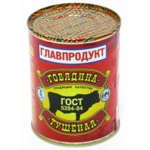 Говядина тушеная 'Главпродукт' высший сорт ГОСТ МЦ-№9 338г ж/б (тушенка)