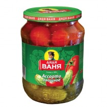 Ассорти овощное 'Дядя Ваня' огурцы и томаты маринованное 680г ст/б