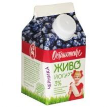 Биойогурт питьевой 'Останкинское' Живо со вкусом черники 3% 200г